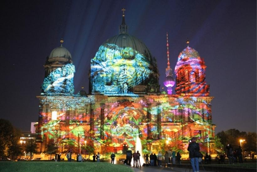 The Berlin cathedral is seen as it is illuminated during the Festival of Lights in Berlin
