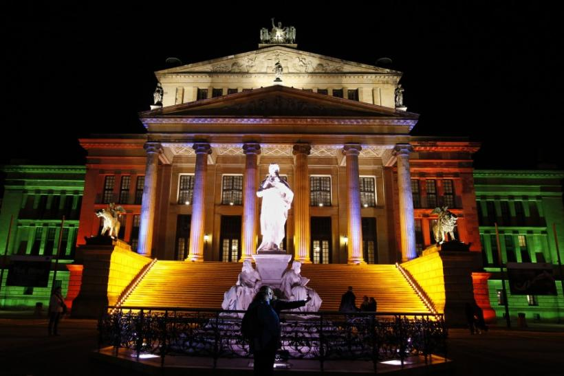 The Schauspielhaus is illuminated as part of the Festival of Lights in Berlin