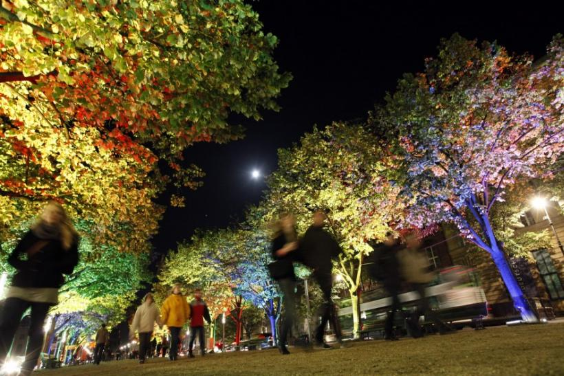 The Unter den Linden boulevard is illuminated during the Festival of Lights in Berlin