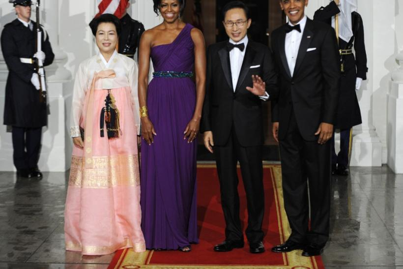 Michelle Obama's One-Shoulder Doo-Ri Chung Gown Dazzles Onlookers at Korean State Dinner