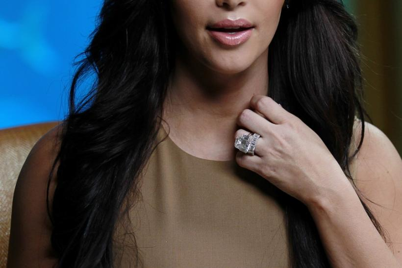 TV personality Kim Kardashian's wedding ring is pictured during an interview with Reuters in Dubai