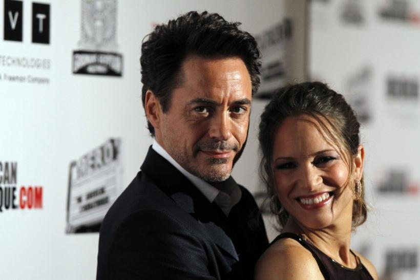 Actor Robert Downey Jr. and his wife Susan pose at the ceremony for the 25th American Cinematheque Award in Beverly Hills, California