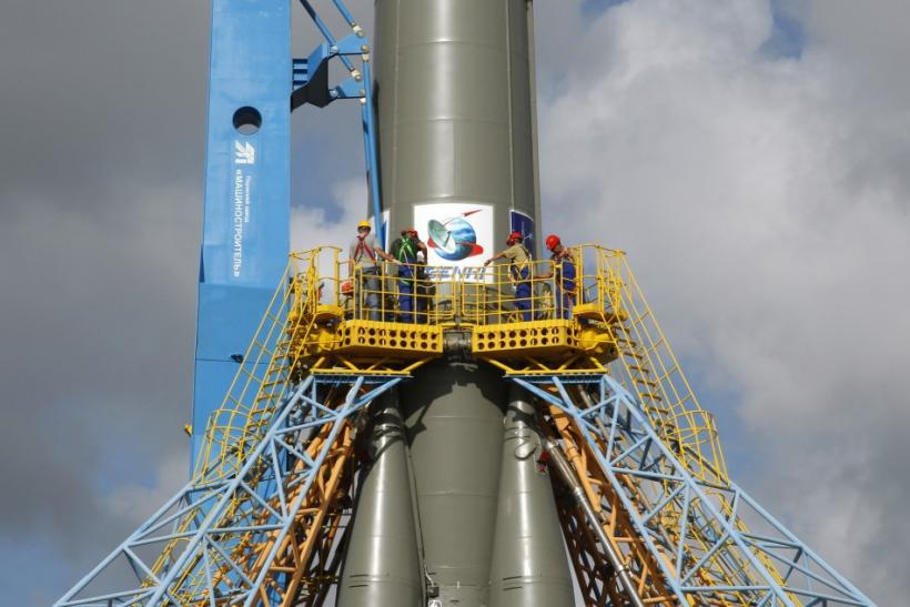 The Soyuz VS01 rocket stands in position on the launch pad at the Guiana Space Center in Sinnamary, French Guiana