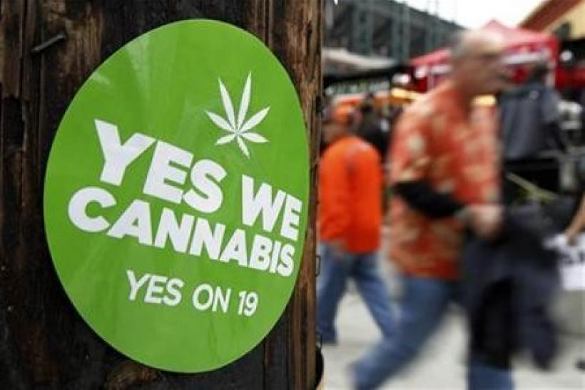 A sticker to support proposition 19, a measure to legalize marijuana in the state of California, is seen on a power pole in San Francisco