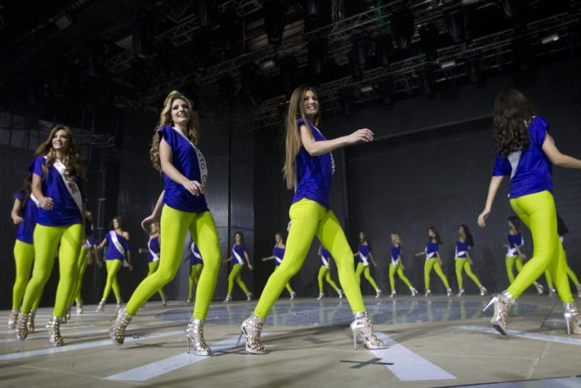 Miss Venezuela 2011 beauty pageant contestants take part in a practice session and media presentation in Caracas