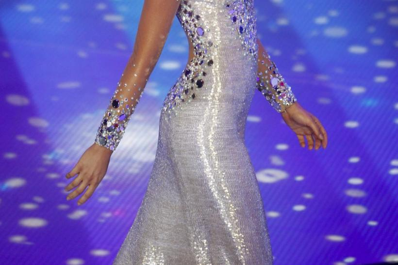 Irene Esser competes in the evening gown segment of the Miss Venezuela 2011 pageant competition in Caracas