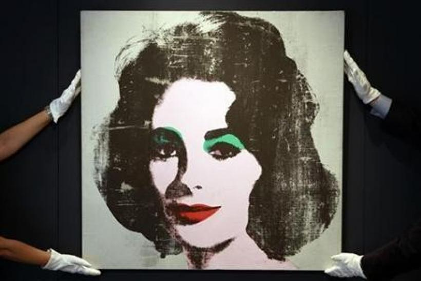 The 1963 ''Silver Liz'' portrait by artist Andy Warhol, is displayed at Christie's auction house in London