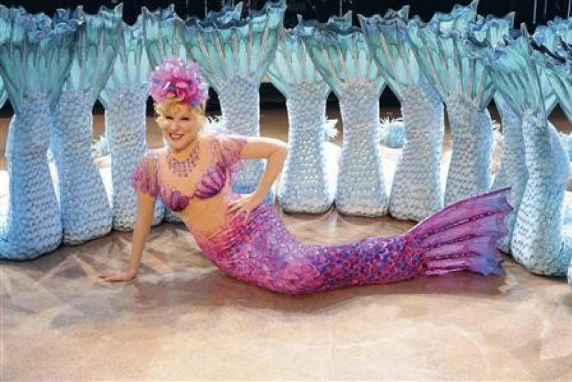 Singer Bette Midler is shown wearing her famous mermaid stage costume as the character Delores de Lago in this undated publicity photograph released to Reuters October 18, 2011. The Mermaid costume and the Valentino gown she wore to the 1992 Oscars and a