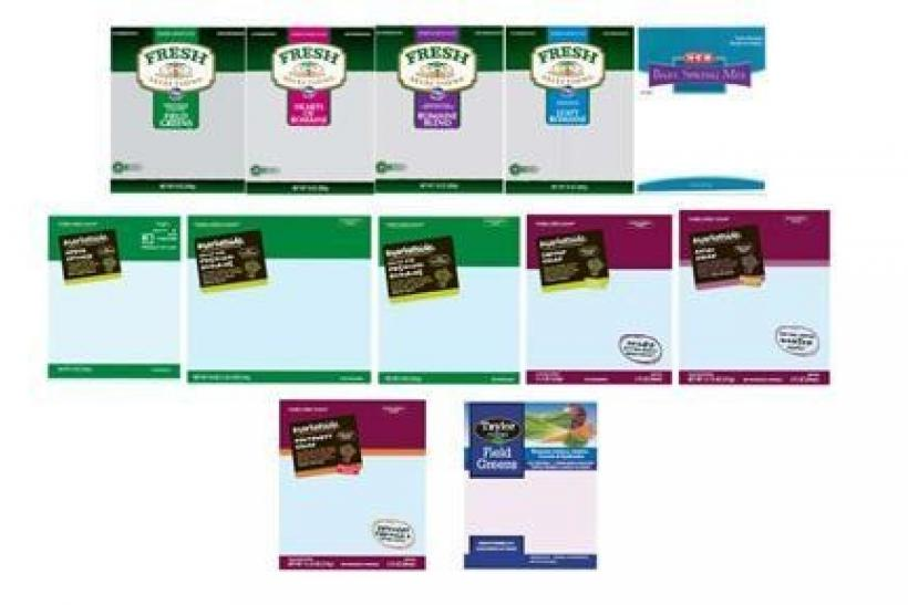The labels from recalled Taylor Farms salad blends are seen in an undated handout image.