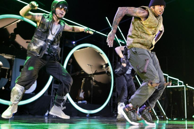 Singer Chris Brown performs in concert during the F.A.M.E. Tour in Los Angeles