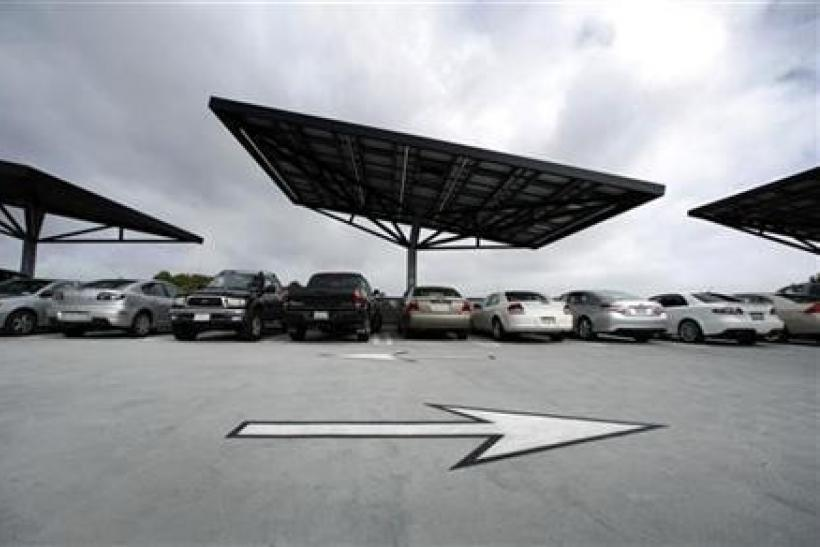 A parking structure at the University of California San Diego uses innovative ''solar trees'' to collect renewable energy from the Sun