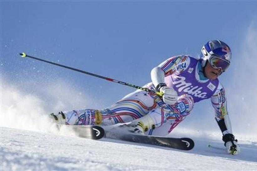 Lindsey Vonn from the U.S. clears a gate during the first run of the women's giant slalom World Cup race on the Rettenbach glacier in the Tyrolean ski resort of Soelden