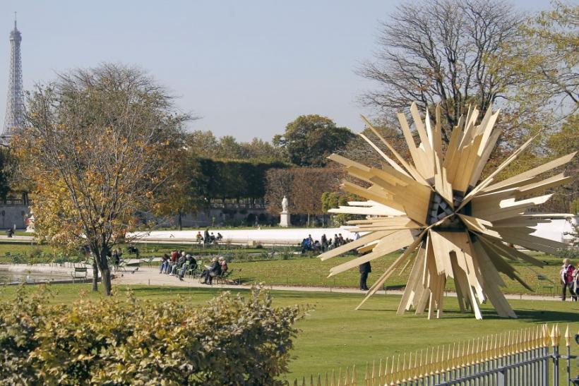 "The sculpture ""La somme des hypotheses, 2011"" by French artist Vincent Mauget is displayed in the Tuileries Garden in Paris"