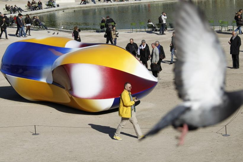 """The sculpture """"Body 2011"""" by Jean-Luc Moulene is displayed in the Tuileries Garden in Paris"""
