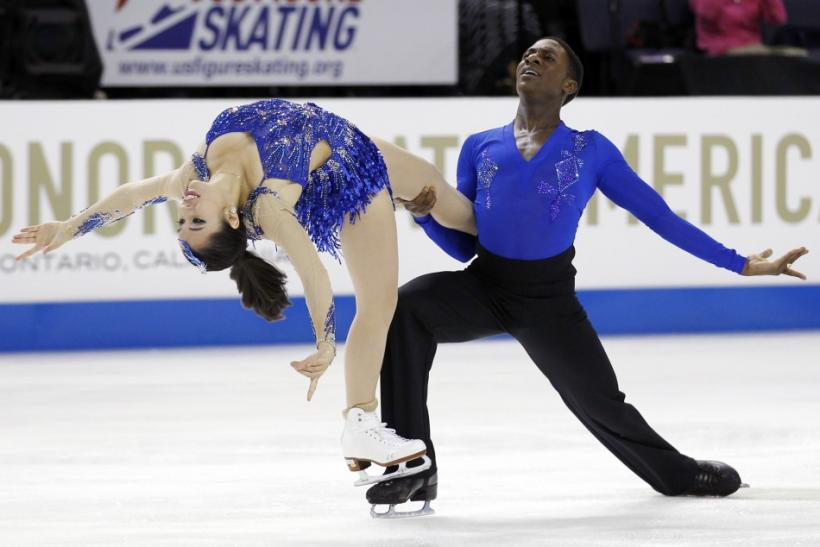 Kharis Ralph and Asher Hill of Canada perform during the Ice Dance Short Dance competition at the Skate America ISU Grand Prix of Figure Skating in Ontario, California