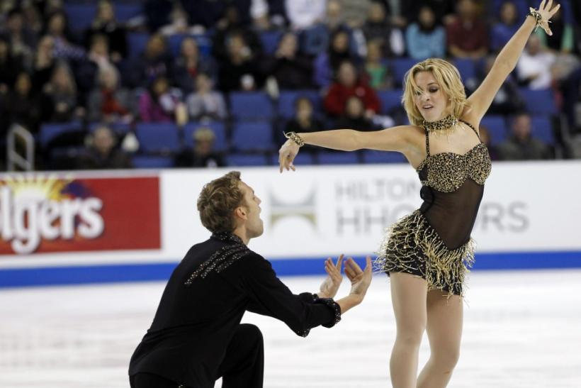 Isabella Tobias and Deividas Stagniunas of Lithuania perform during the Ice Dance Short Dance competition at the Skate America ISU Grand Prix of Figure Skating in Ontario, California