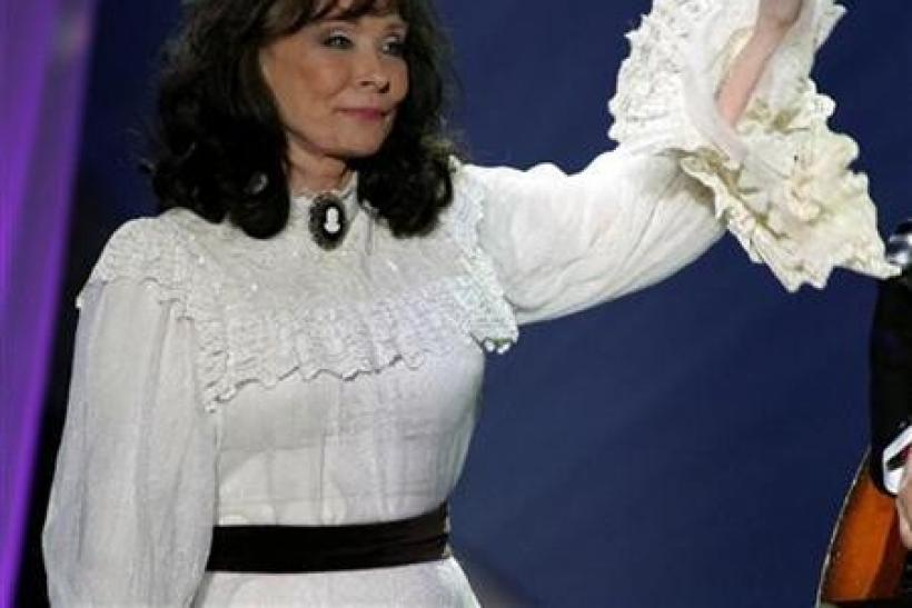 Loretta Lynn waves after performing the song ''Miss being Mrs.'' at the 39th annual Academy of Country Music Awards at the Mandalay Bay Events Center in Las Vegas, Nevada