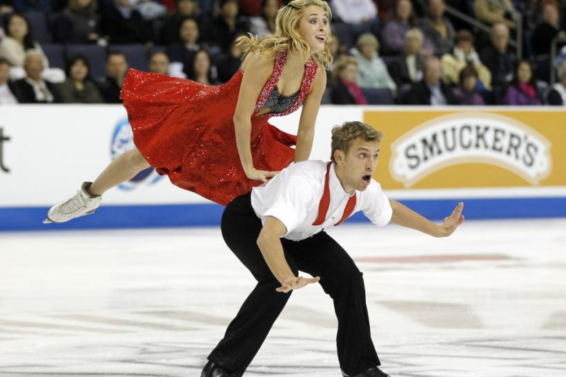 Isabella Tobias and Deividas Stagniunas of Lithuania perform during the ice dance free dance competition at the Skate America ISU Grand Prix of Figure Skating in Ontario, California