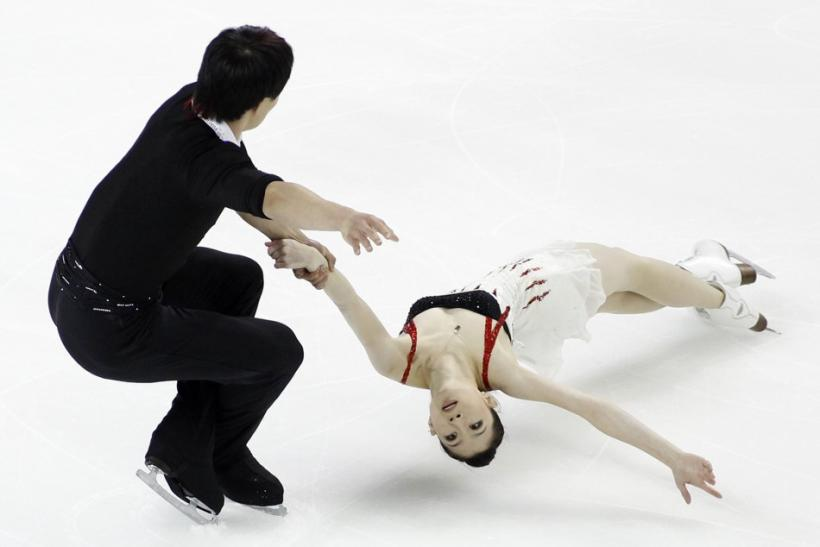 Zhang Dan and Zhang Hao of China perform during the pairs short program at the Skate America ISU Grand Prix of Figure Skating in Ontario, California