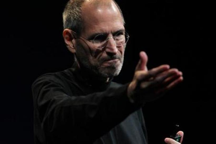 File photo of Apple CEO Steve Jobs during his unveiling of the iPhone 4, at the Apple Worldwide Developers Conference in San Francisco