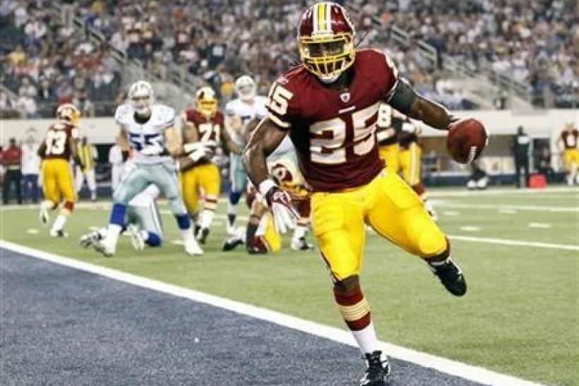 Washington Redskins running back Tim Hightower scores a touchdown against the Dallas Cowboys in the second half of their NFL football game in Arlington, Texas