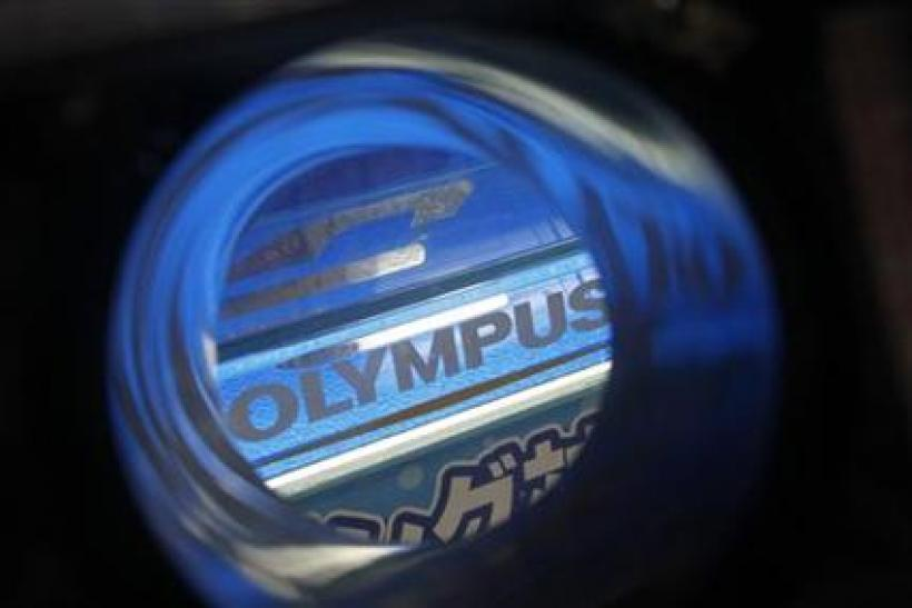 Olympus's logo is seen through its waterproof housing at an electronics shop in Tokyo