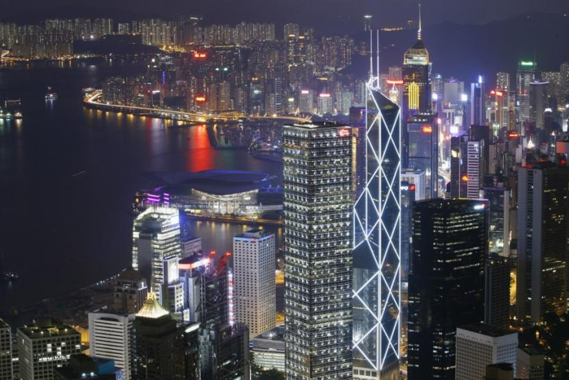 A general view of the Hong Kong Island skyline is seen from the Peak in Hong Kong in the evening