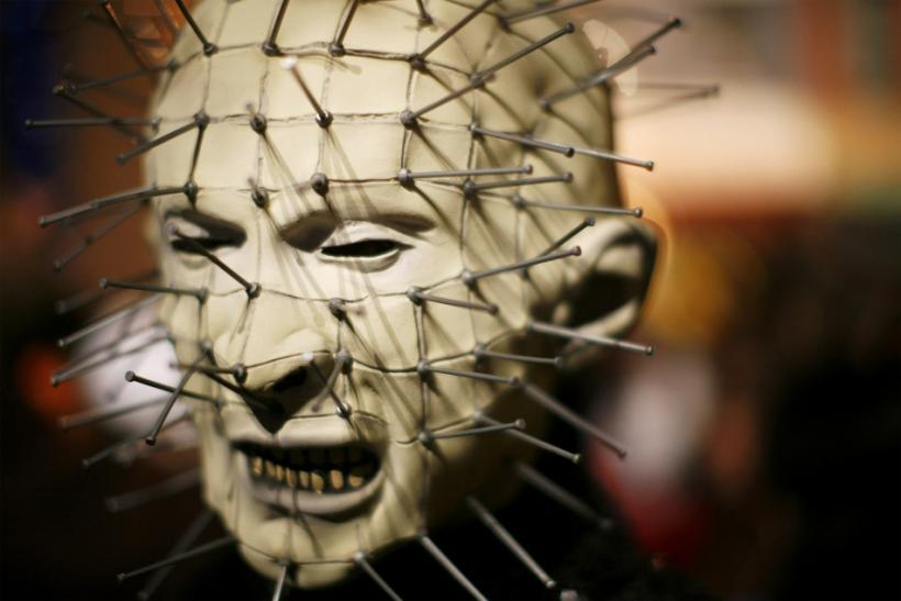 "A participant dressed as Pinhead from the film ""Hellraiser"" takes part in the annual Greenwich Village Halloween Parade in New York"