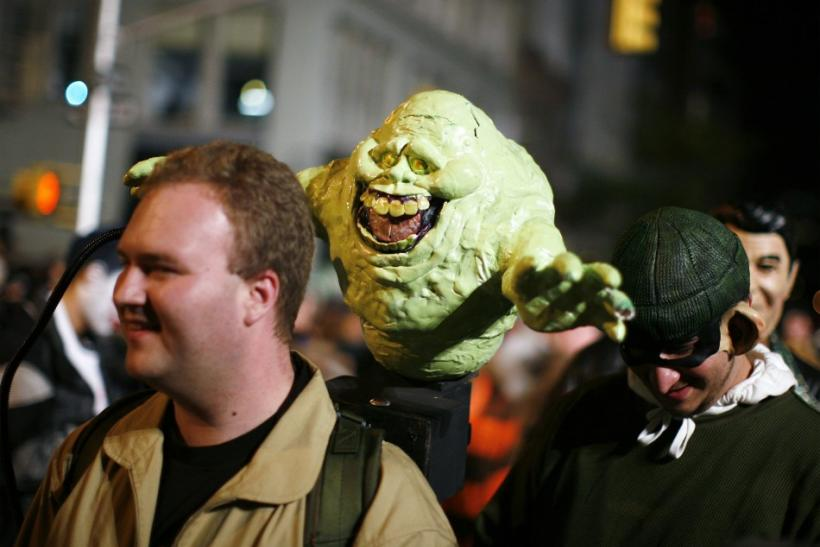 "A participant dressed as a character from the show ""Ghostbusters"" takes part in the annual Greenwich Village Halloween Parade in New York"