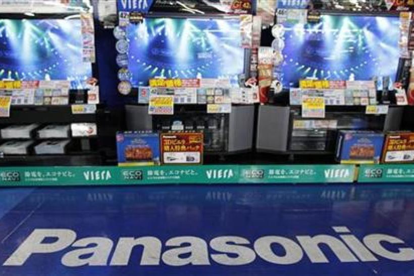 Panasonic's plasma TV sets are displayed at an electronics shop in Tokyo