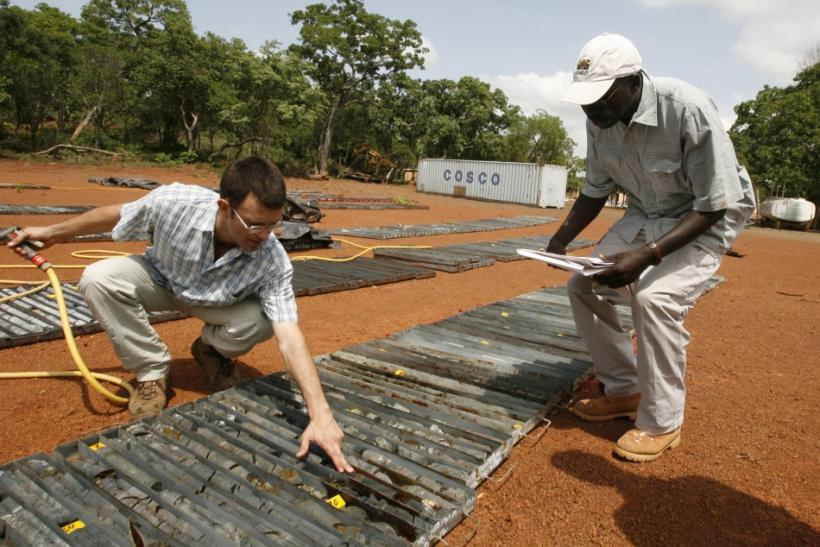 Randgold Resources employee checks samples in Tongon, Ivory Coast
