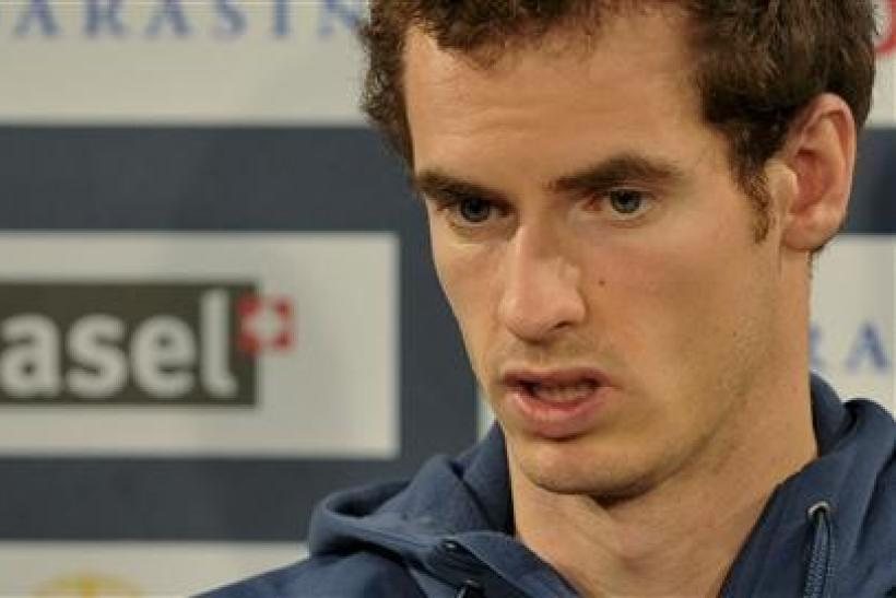 Britain's Andy Murray addresses a news conference at the Swiss Indoors ATP tennis tournament in Basel