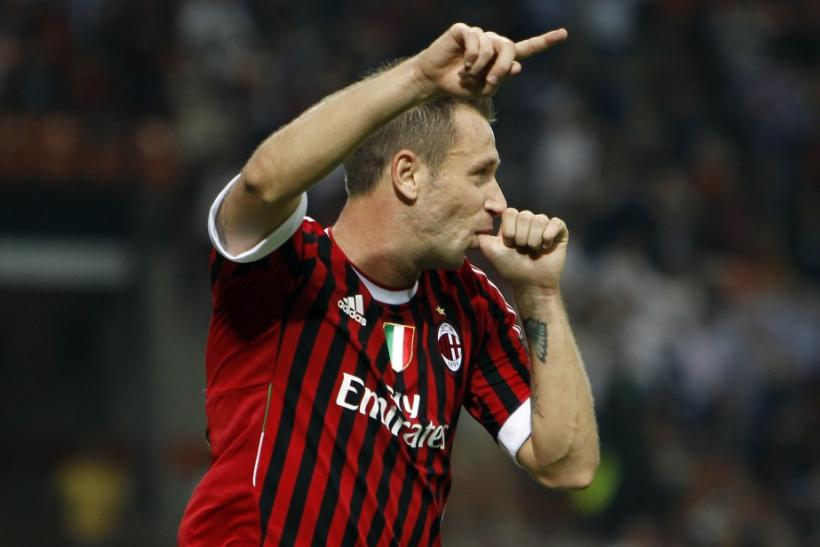 AC Milan's Antonio Cassano celebrates after scoring against Viktoria Plzen in their Champions League Group H soccer match at Giuseppe Meazza stadium in Milan