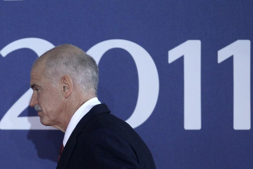 Greece's Prime Minister Papandreou arrives at the G20 venue where world leaders gather in Cannes