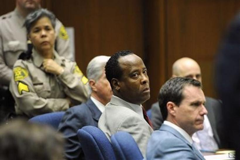 Dr. Conrad Murray looks towards Los Angeles Deputy District Attorney David Walgren (not pictured) as Walgren delivers his closing arguments during the final stage of Murray's defense in his involuntary manslaughter trial in the death of singer Michae