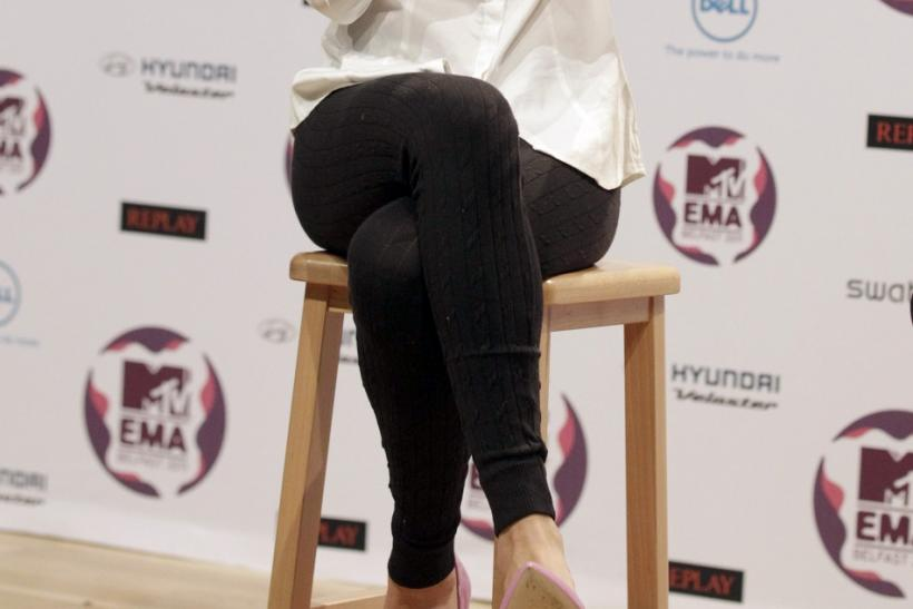 Actress, singer and 2011 MTV EMA host, Selena Gomez, speaks at a news conference at the Odyssey Arena, in Belfast