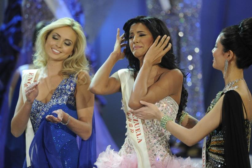 Miss Venezuela, Ivian Sarcos, reacts as she hears that she has been named Miss World 2011 in Earls Court in west London