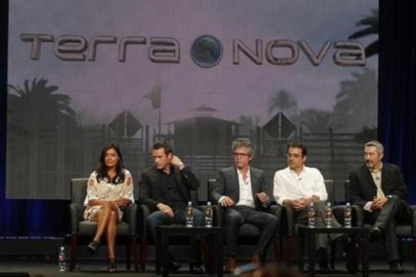 (From L to R) British actress Shelley Conn and Irish actor Jason O'Mara, stars of the new series ''Terra Nova'' along with Brannon Braga, executive producer and writer, Rene Echevarria, writer and executive producer and Jon Cassar