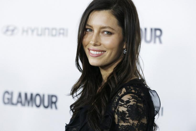 Actress Jessica Biel poses as she arrives for the Glamour Reel Moments event in Los Angeles