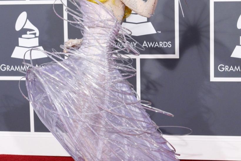Lady Gaga poses on the red carpet at the 52nd annual Grammy Awards in Los Angeles