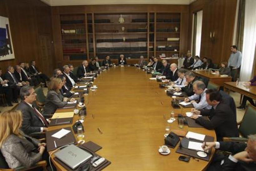 Greece's Prime Minister George Papandreou holds an emergency cabinet meeting at the parliament in Athens