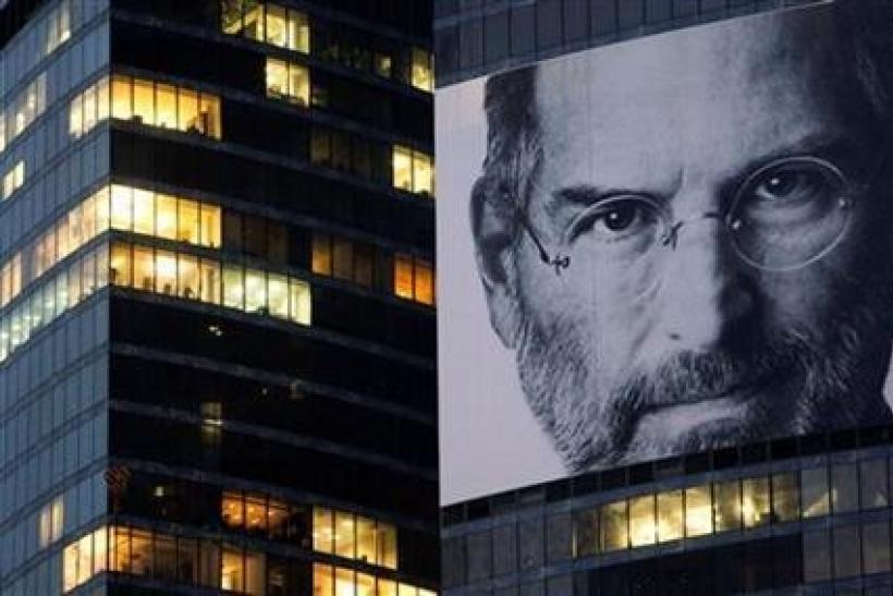 A portrait of Apple co-founder and former CEO Steve Jobs is placed on the Federation Tower skyscraper in Moscow's new business district