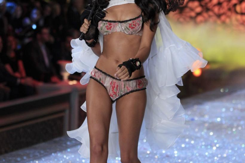 A Victoria's Secret model presents a creation during the Victoria's Secret Fashion Show in New York