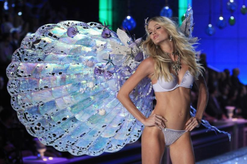 A model presents lingerie during the Victoria's Secret Fashion Show in New York