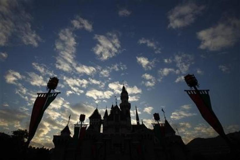 A building named as Sleeping Beauty's Castle is seen during sunset at Hong Kong Disneyland November 4, 2009.