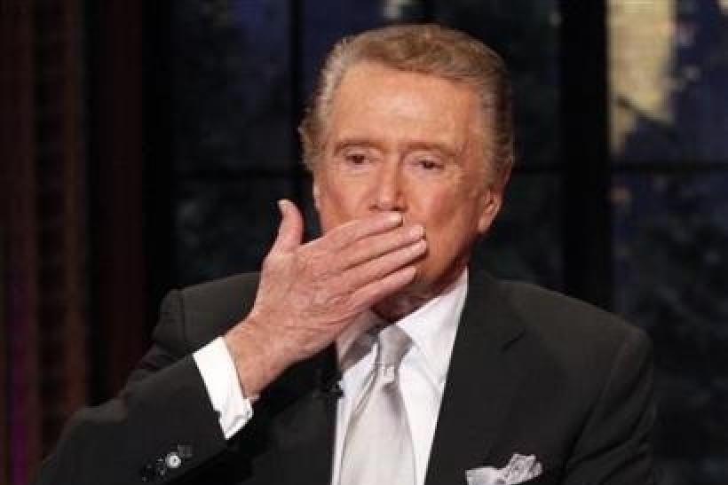Television host Regis Philbin blows a kiss goodbye during his final show of ''Live With Regis and Kelly'' in New York, November 18, 2011. After nearly three decades hosting the show that became ''Live With Regis and Kelly&#03