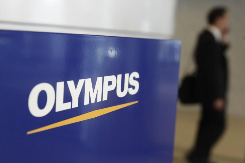 The logo of Olympus Corp is pictured at its company headquarters in Tokyo