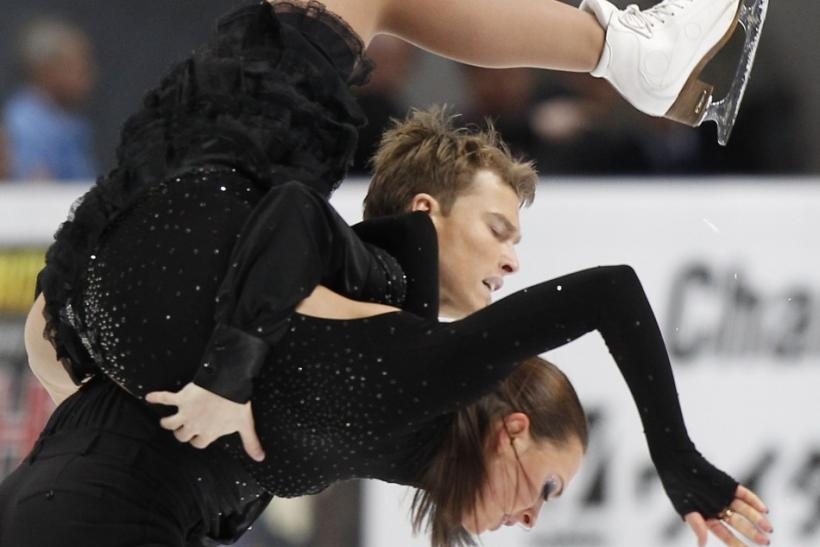Russia's Ekaterina Riazanova and Ilia Tkachenko perform during the Ice Dance short dance at the ISU Grand Prix of Figure Skating Rostelecom Cup in Moscow