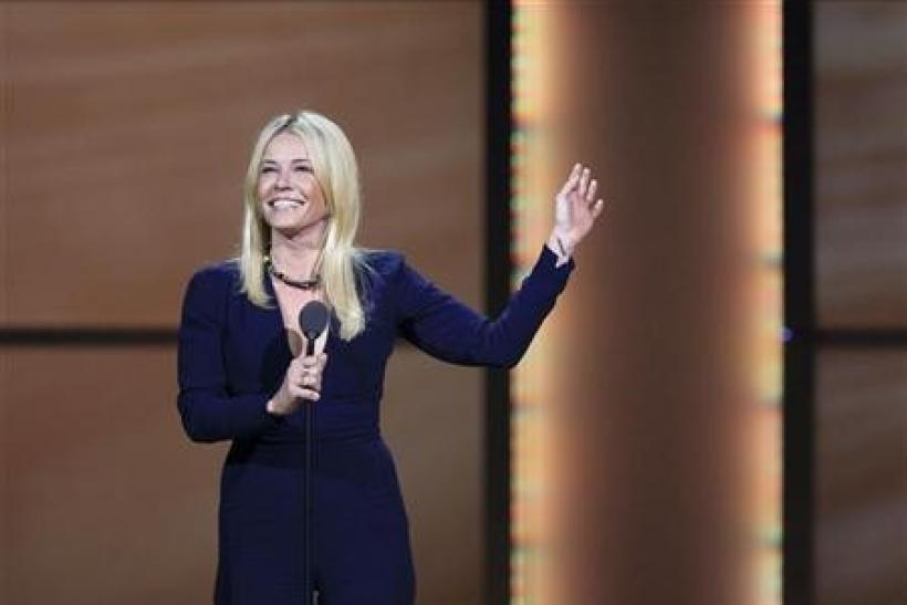 Comedienne Chelsea Handler speaks as she accepts a Woman of the Year award during the 21st annual Glamour Magazine Women of the Year award ceremony in New York November 7, 2011.