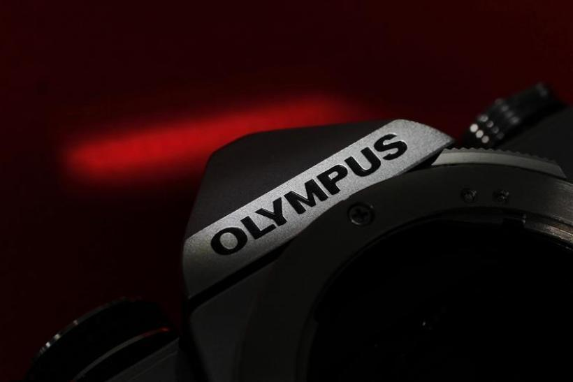 The Olympus logo on its camera is seen in this illustrative photograph taken in Tokyo